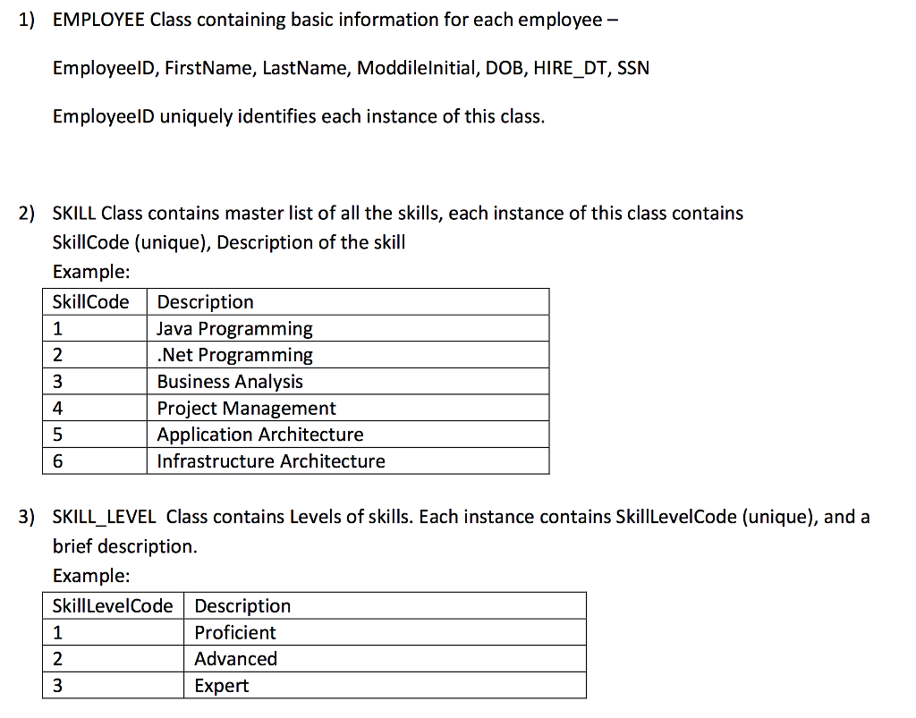 1 employee class containing basic information for chegg com 1 employee class containing basic information for each employee employeeid first last