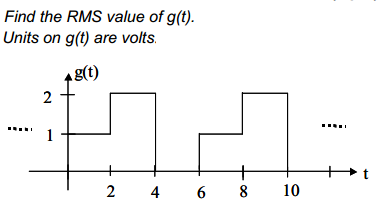 Find the RMS value of g(t). Units on g(t) are vol