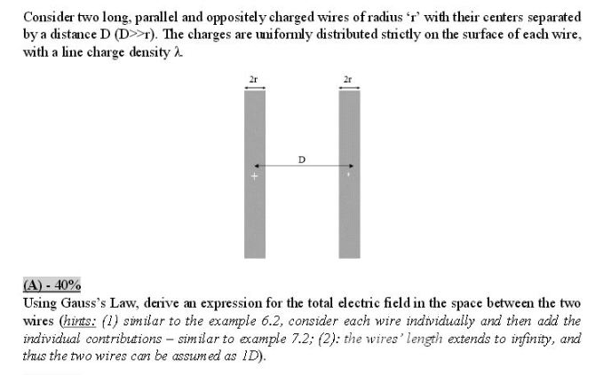 Solved: Consider Two Long, Parallel And Oppositely Charged ...
