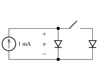 The diodes shown in the figure below are identical