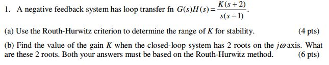 A negative feedback system has loop transfer fn G(