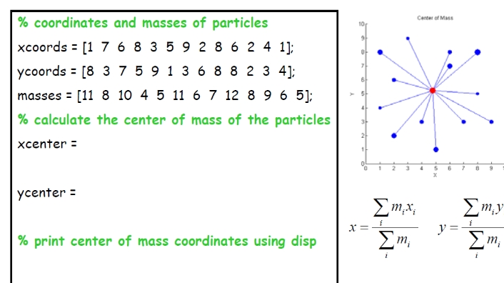 % coardinate and masses of particles x coards = [