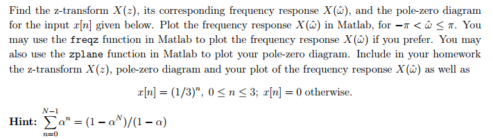 Find the z-transform X(z), its corresponding frequ