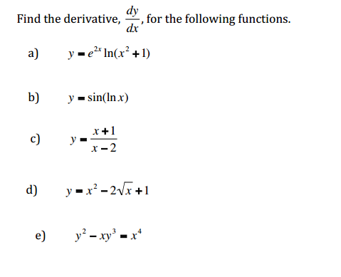 Find The Derivative, Dy/dx, For The Following Func... | Chegg.com