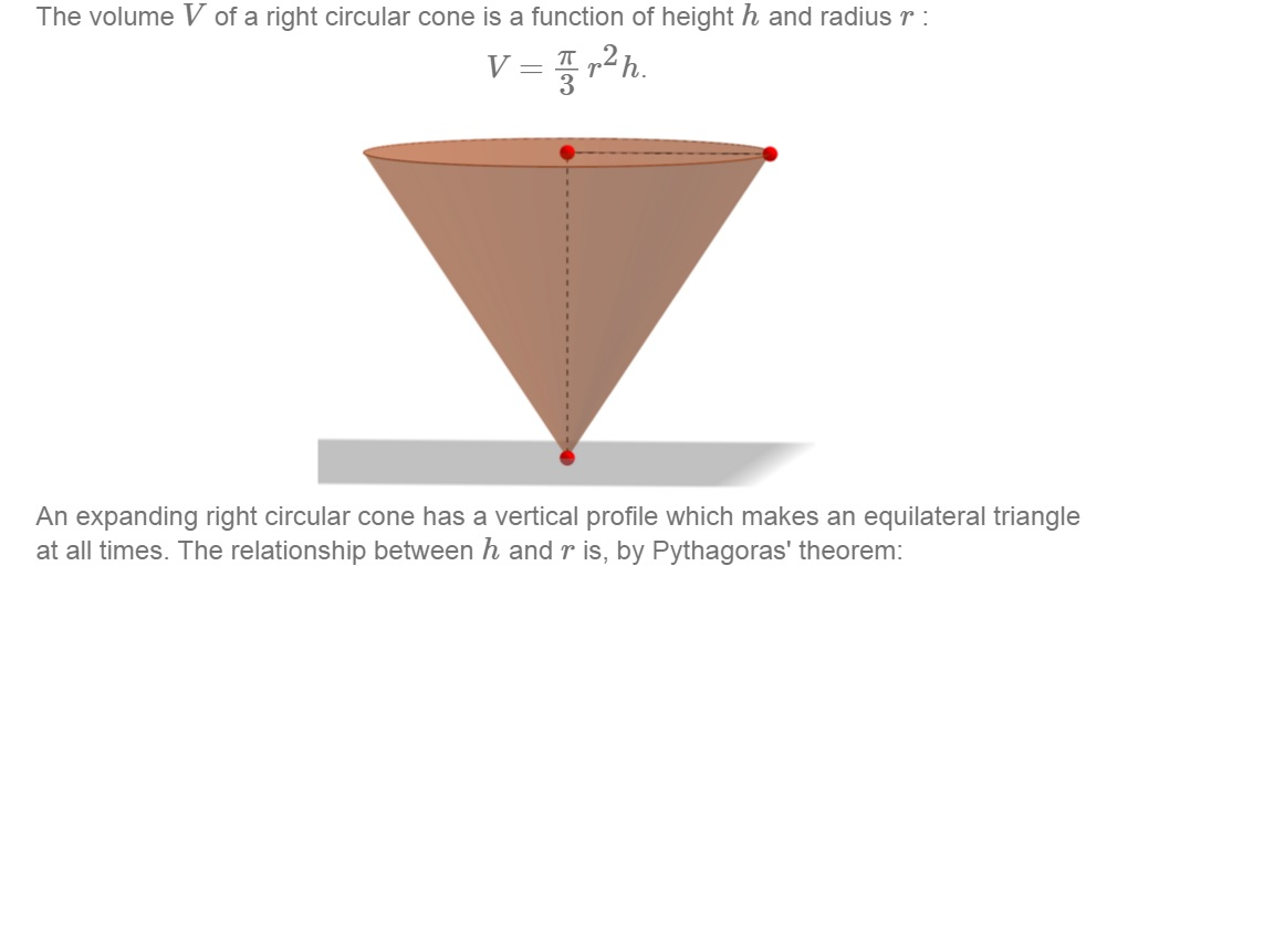 the volume v of a right circular cone is a functio com question the volume v of a right circular cone is a functio