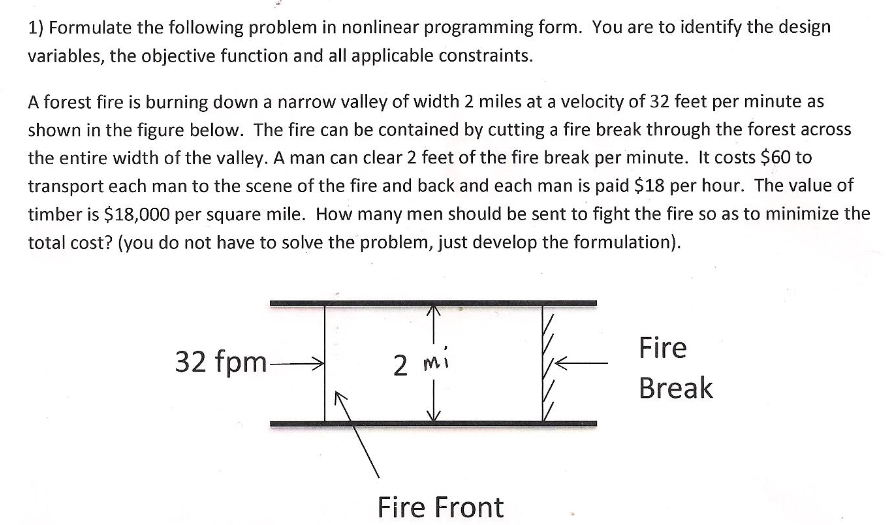 Formulate the following problem in nonlinear progr