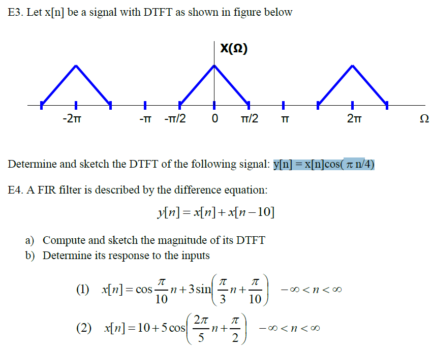 Let x[n] be a signal with DTFT as shown, in figure