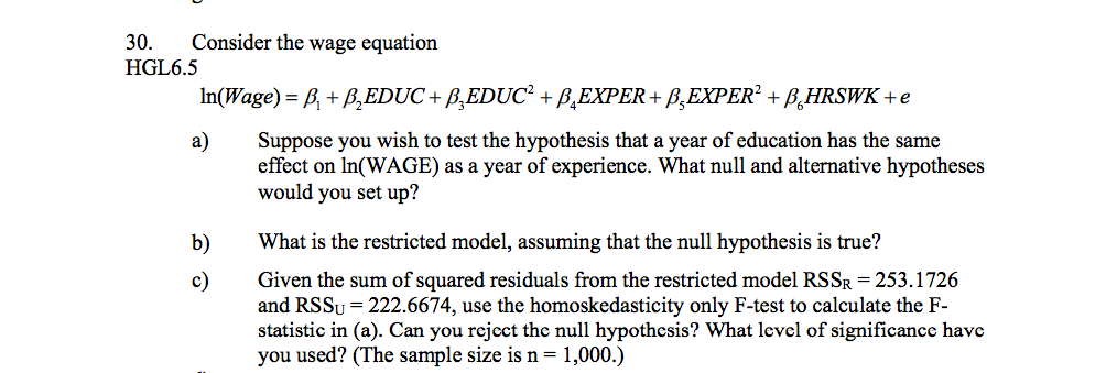 how to write a null hypothesis equation