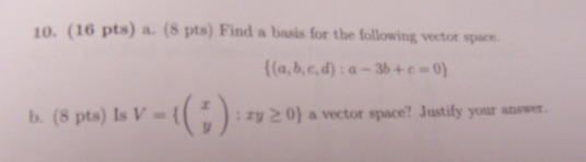Find a basis for the following vector space. {(a,b