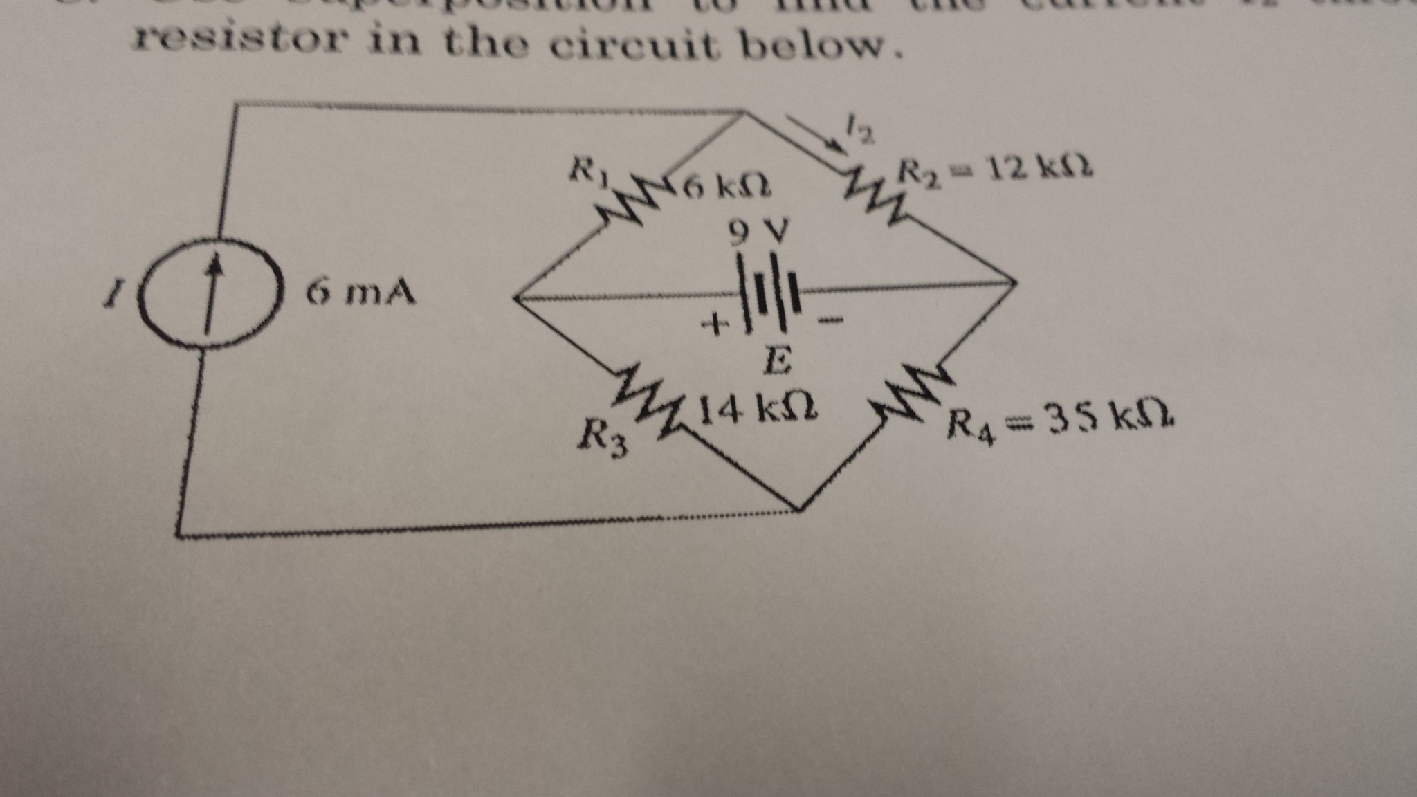 resistor in the circuit below.