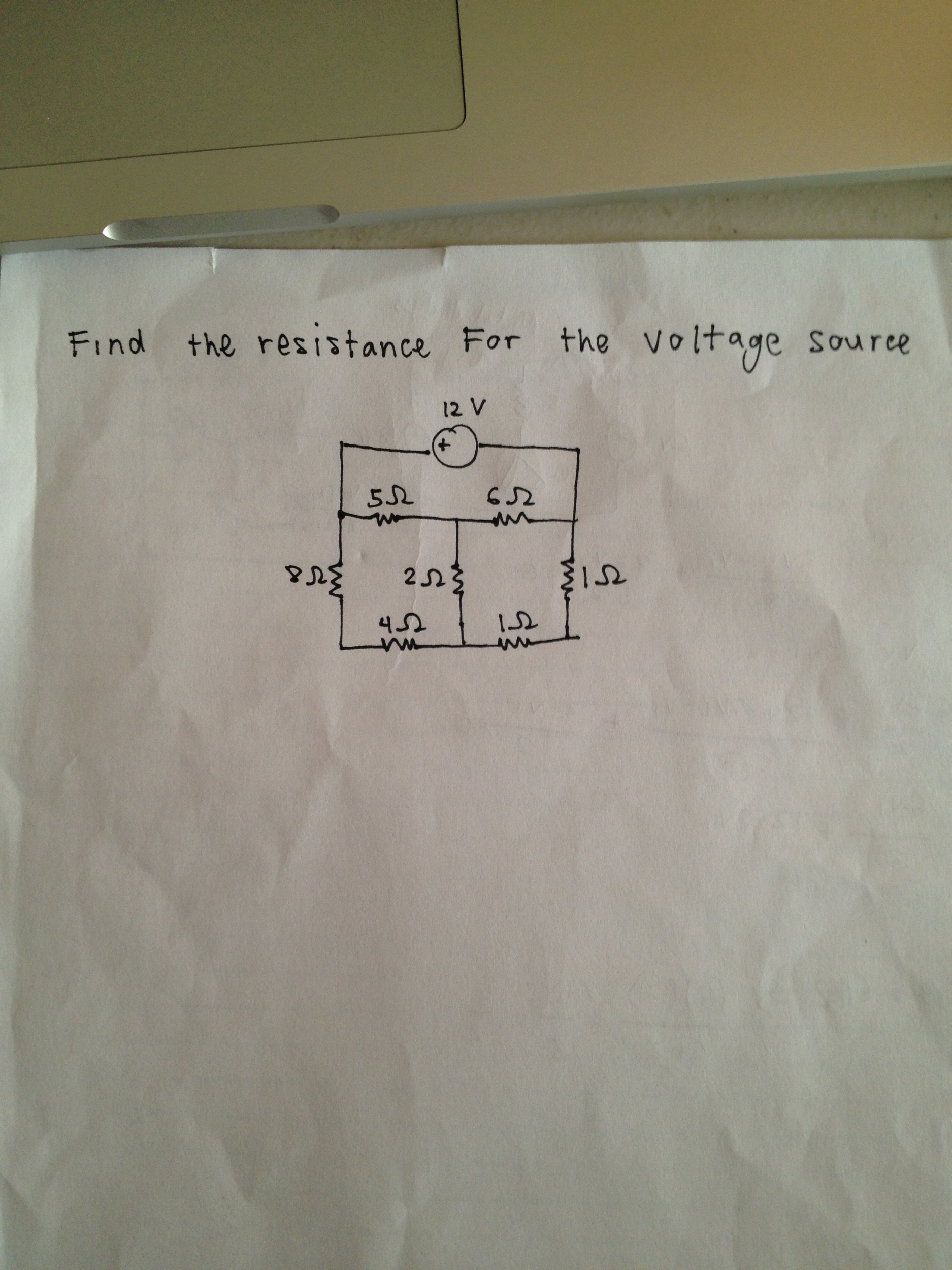 Find the resistance for the voltage source