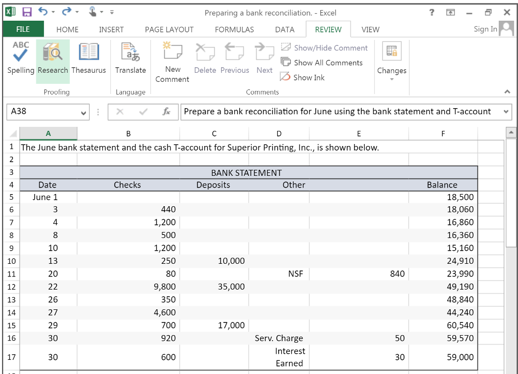 t accounts on excel