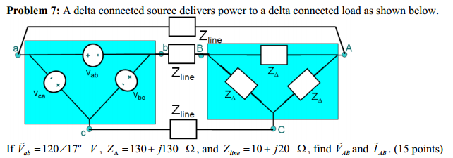 A delta connected source delivers power to a delta