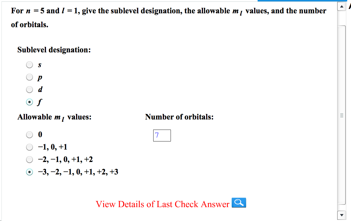 For N=5 And =1, Give The Sublevel Designation This... | Chegg.com