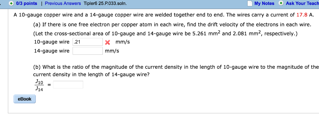 Solved: A 10-gauge Copper Wire And A 14-gauge Copper Wire ...