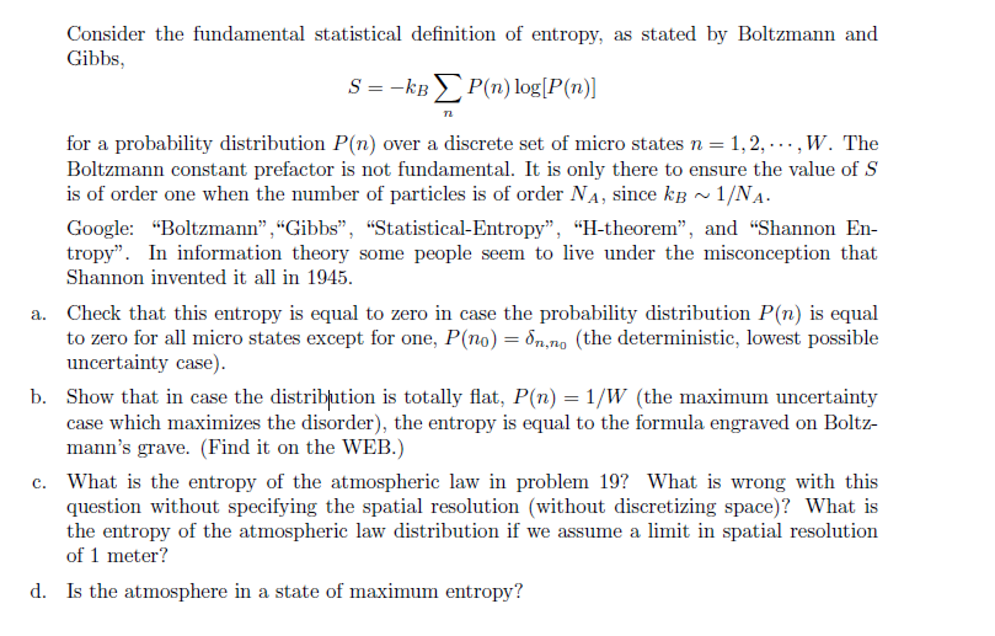 Consider The Fundamental Statistical Definition Of