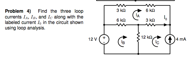 Find the three loop currents IA, IB, and Ic along