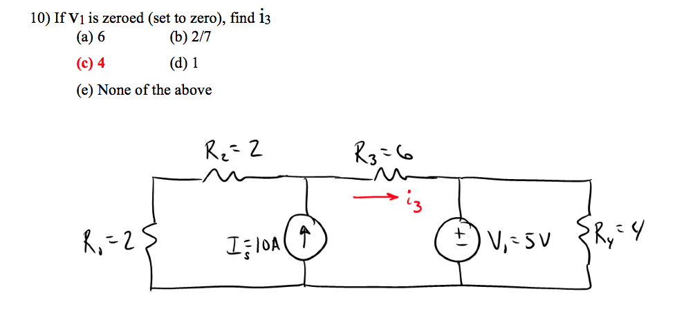 If V1 is zeroed (set to zero), find i3 6 2/7 4