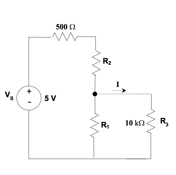 solved  for the circuit below  if the sum of r1 and r2 is