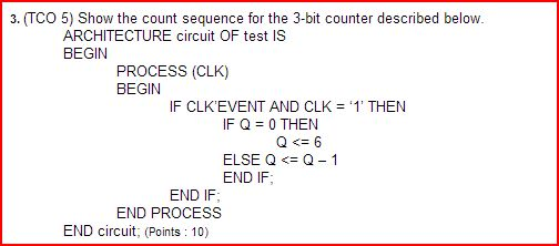 Show the count sequence for the 3-bit counter desc