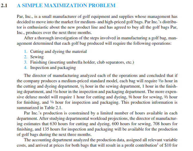 par inc case problem managerial report