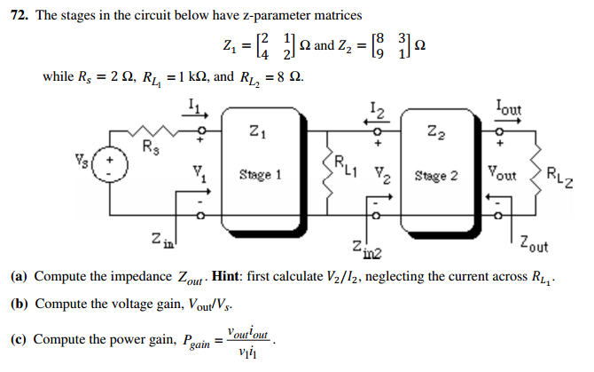The stages in the circuit below have z-parameter m