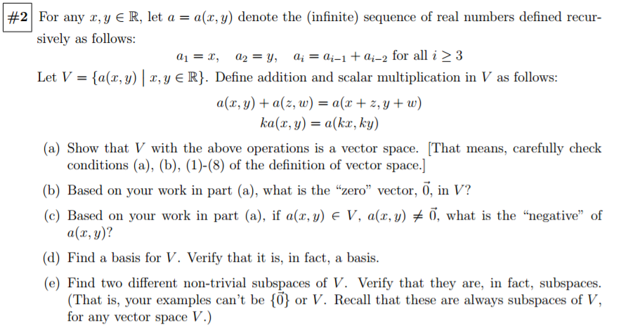 Good Question: For Any X, Y Belongs To R, Let A U003d A(x, Y) Denote The (infinite)  Sequence Of Real Numbers Defined.