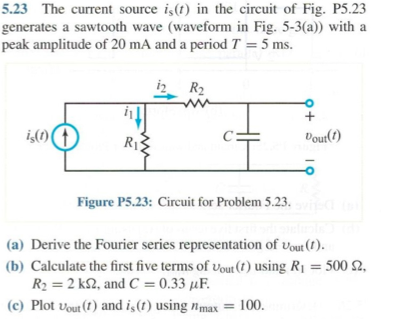The current source is (t) in the circuit of Fig.