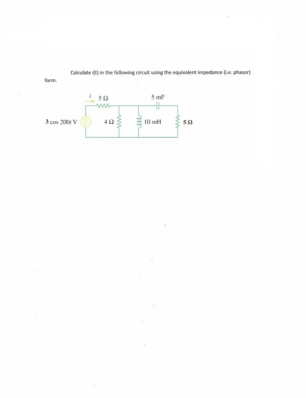 Calculate i(t) in the following circuit using the