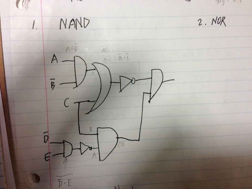 1) Redraw this using only NAND gates &n