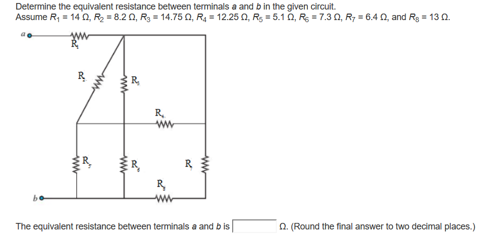 Determine the equivalent resistance between termin