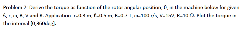 Derive the torque as function of the rotor angular