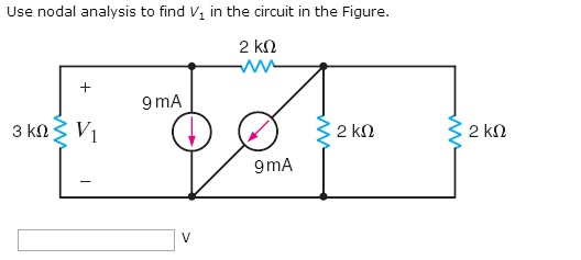 Use nodal analysis to find V1 in the circuit in th