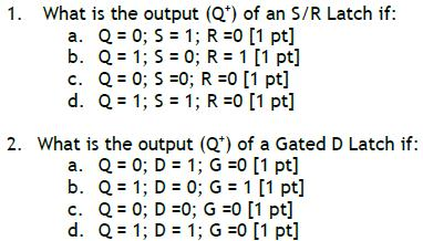 What is the output (Q+) of an S/R Latch if: Q = 0