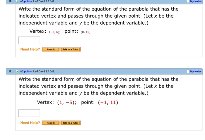 Solved Write The Standard Form Of The Equation Of The Par