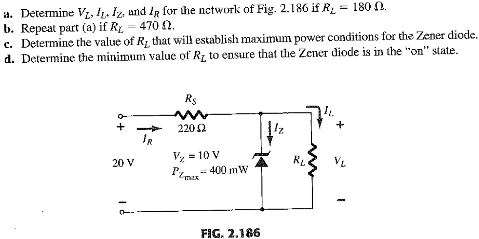 Determine VL, IL, Iz, and IR for the network of Fi