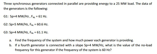 Three synchronous generators connected in parallel