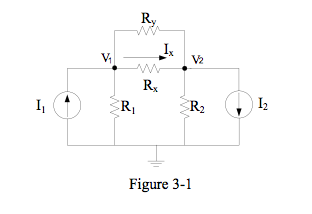 In the circuit of Figure 3-1, let I1=1.5 A, I2=-9
