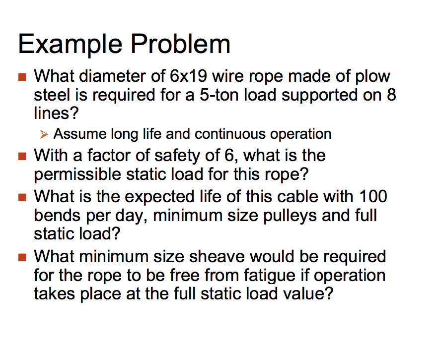 Mple Problem What Diameter Of 6x19 Wire Rope Made ... | Chegg.com