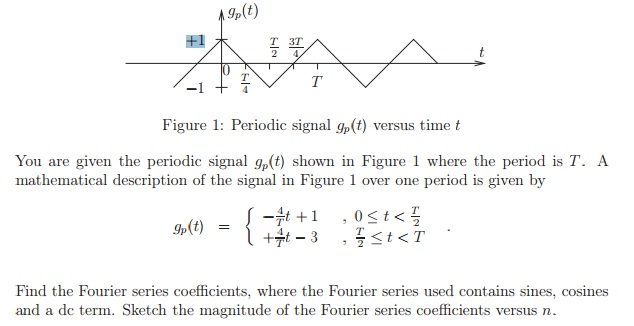 You are given the periodic signal g p(t) shown in