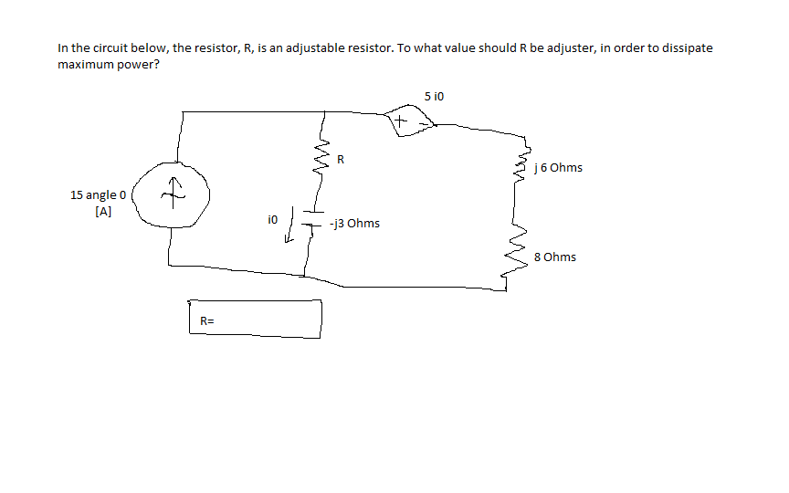 In the circuit below, the resistor, R, is an adjus