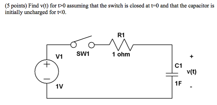 Find v(t) for t>0 assuming that the switch is clos