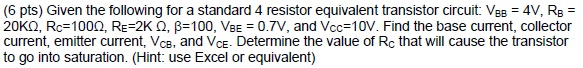 Given the following for a standard 4 resistor equi