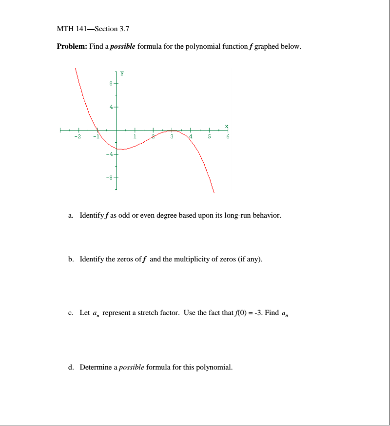 how to find the formula of a polynomial function