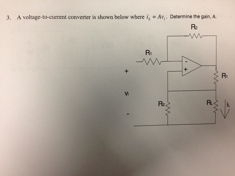 A voltage-to-current converter is shown below wher