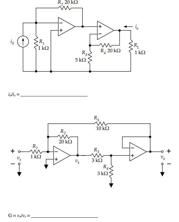 The op-amps in the two circuits below are ideal. F