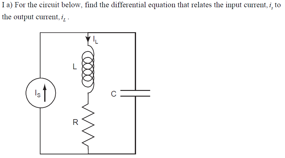 For the circuit below, find the differential equat