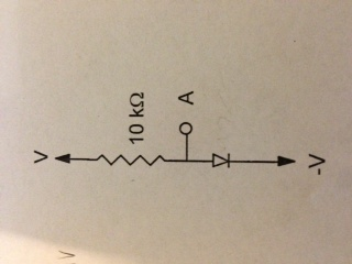 In the circuit below the diode may be considered i