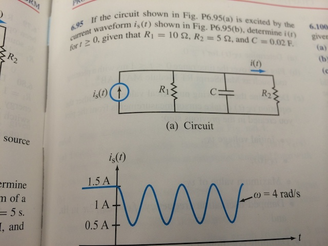 If the circuit shown in fig.P6.95(b), determine i(