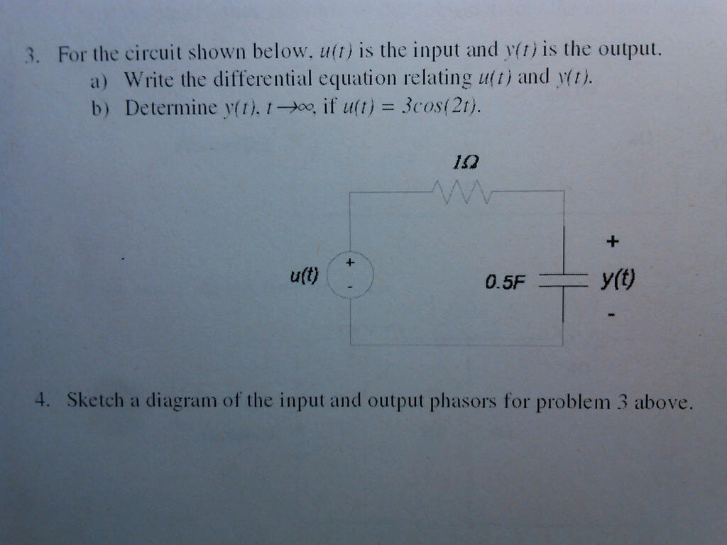 For the circuit shown below. u(t) is the input and